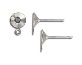 10-100pcs--Ear post, Stainless Steel with 6mm cup and loop (B6-10)