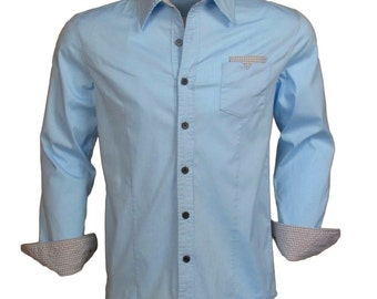"""Katalyst """"Tenjune"""" Men's Sky Blue long sleeve button down with gingham accents"""