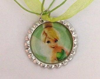 Tinkerbell necklace/Tinkerbell bottlecap/Disney jewelry/handmade jewelry/Tinkerbell jewelry