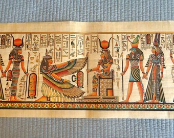 """Huge Handmade Papyrus of Egyptian Queen ISIS Painting...32""""x12"""" Inches"""