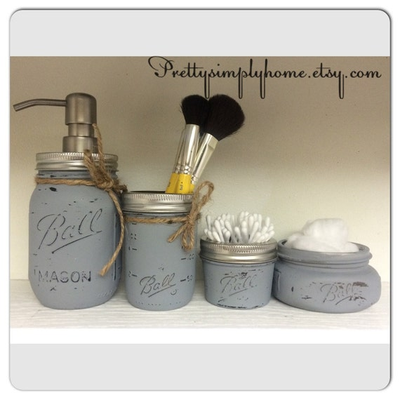 Mason jar bathroom set farmhouse decor rustic bathroom kit for Bathroom decor mason jars