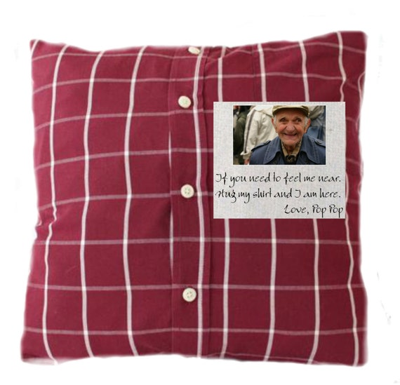 Items similar to custom memory pillow made from your loved for Things to make out of a loved one s clothing