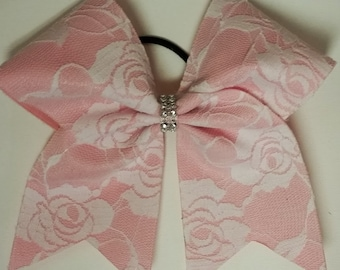 Cheer Bow - Pink & White Lace