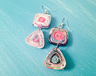 Royal Suzie Boho Upcycled Magazine Earrings ~ Artsy ~ Colorful