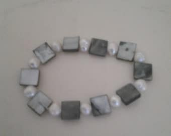 Gray marble with real pearls bracelet.