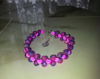 Silver Plated Pink and Purple Miracle Bead Bracelet