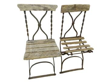 Antique French Bistro/Stadium Chairs, Pair