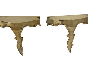 French Brass Consoles, Pair