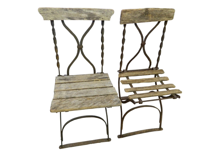 Antique French Bistro Stadium Chairs Pair