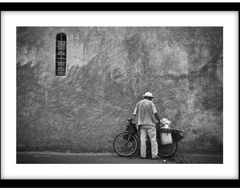 Man with Bicycle, Marrakesh, Morocco.  Black and White Fine Art Photograph printed on 308gsm Hahnemuhle fine art paper (Unmatted)