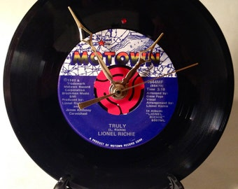 """Recycled LIONEL RICHIE 7"""" Record • Song: Truly • Record Clock"""