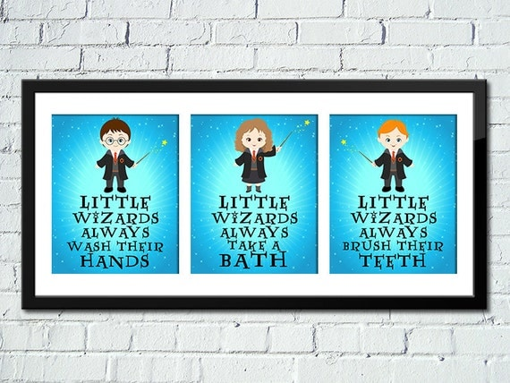 set of 3 harry potter inspired art print by happydayscreation