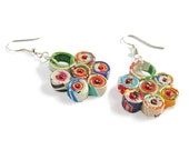 Multicolor paper flower earrings, recycled paper, earth friendly, sustainable jewelry