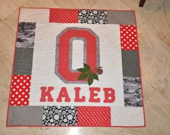 Ohio State Buckeye Personalized Custom Baby Quilt