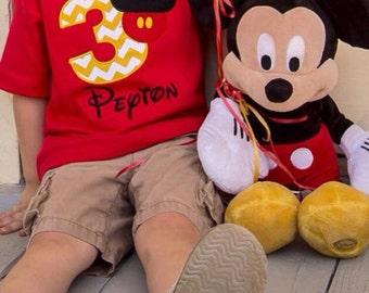 Mickey Mouse Birthday Shirt - Personalized - 1-9 - Red shirt