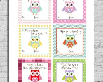 Printable Valentine's Cards - Owl Valentine - Instant Download