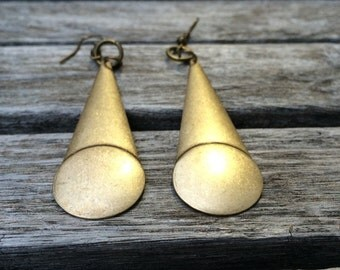 Geometric Art Deco Antique Bronze Long Drop Dangle Earrings