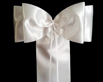 10 x Wedding Church Pew Decorations - Satin Sash Style Luxury Pew End Bows - White or Pale Ivory Satin