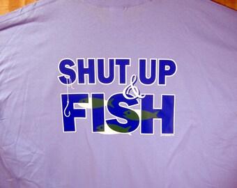 "Fishing T-shirt  ""Shut Up & Fish"" Cotton  S-XXXL"