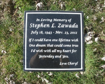 Memorial plaque black granite custom carved up to 110 characters.