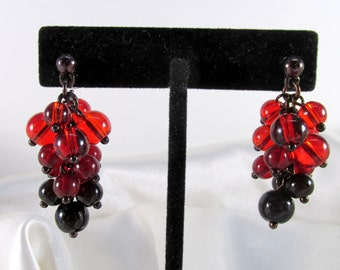 Cranberry Lucite Cluster Dangle Vintage Pierced Earrings