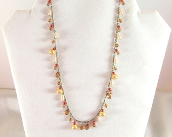 Vintage Beaded Charm Necklace Signed NY