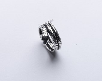 Sterling Silver Snake Rope adjustable Ring