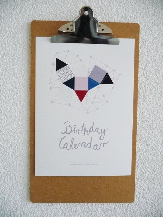 Diy Birthday Calendar : Items similar to perpetual birthday calendar diy