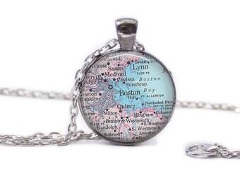 Boston Map Pendant Map Necklace Boston Map Jewelry