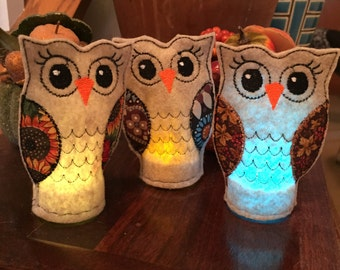 Embroidered Owl Tea Light Holders