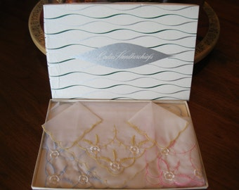 Vintage Ladies Hankies 3 total with box Hanky Hankies Pink Blue Yellow Embroidered unused Chiffon
