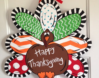 Hand Painted Wooden Turkey Door Hanger
