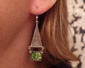 Art Deco Silver Earrings ~ Green Art Deco Earrings ~ Egyptian Earrings ~ by SilverJewelryBox