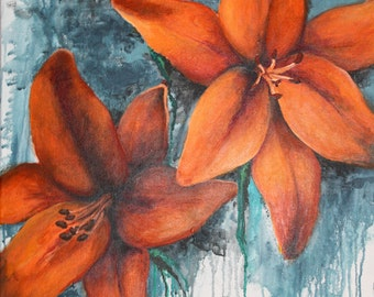 Tiger Lilies- original painting on canvas