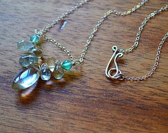 Sterling silver necklace with green Aventurine, lemon Quartz, Citrine & Aquamarine briolettes