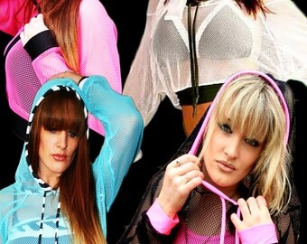 Hoody fishnet  top jacket small hole bright punk goth cyber rave wear club wear plur lots of colours