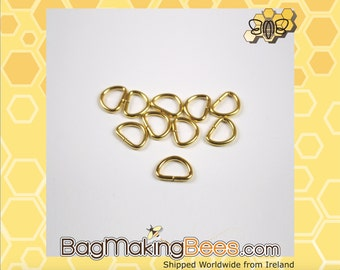 1/2 Inch Gold D-Ring [Pack Of 10]