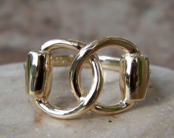 Beautiful And Unique Solid 14K Gold Equestrian Horse Snaffle Bit Ring