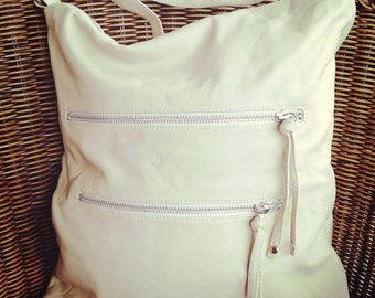Messenger leather bag made from the softest leather. Fully lined with room for everything, 5 Zip Bag handmade leather bag Ships for free