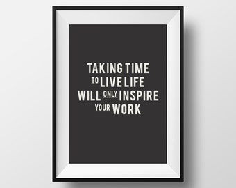 Life work quote, typography, typographic art, inspirational quote, Instant Download, Printable Art, motivational poster, motivational art
