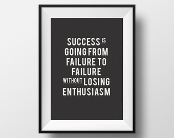 Success Quote, Printable Art, Motivational poster, Office decor, Quote print, Typography Poster, Home Decor, Wall Art, Digital Download