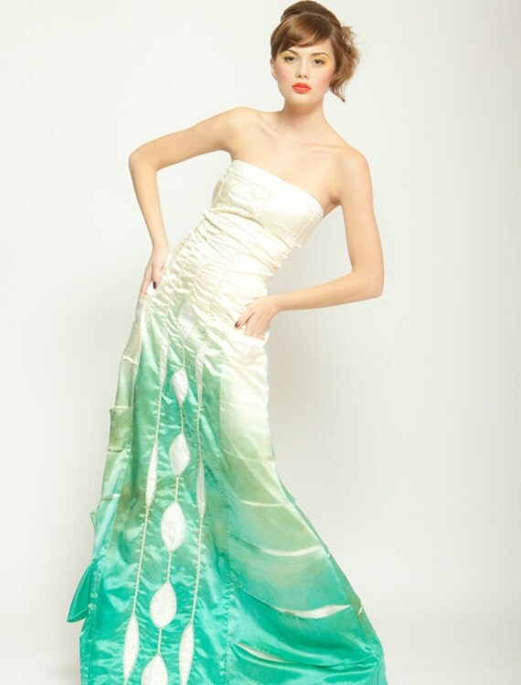 Ombre Silk Wedding Dress Gradient Artistic Bridal Gown Green