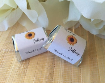 300 Personalized Wedding Candy Wrappers Sunflower theme candy bar wrappers, sunflower wedding favors,sunflower wrappers, fall wedding favors