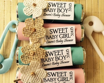 24 Baby Shower Favors, Baby Shower Mint Favors, Mint Rolls, Boy Baby Shower Favors, Girl Baby Shower Favors, Baby Shower Mints, Baby Mints