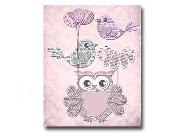 Owl Nursery Decor Pink Owl Decor Kids Room Decor Baby Girl Room Decor