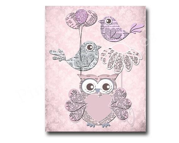 pink owl decor, kids room decor, baby girl room decor, play room decor ...