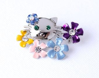 Cat Brooch Crystal Hello Kitty Cat Broach Jewelry Hello Kitty Cat Brooches Gift for Cat Lover