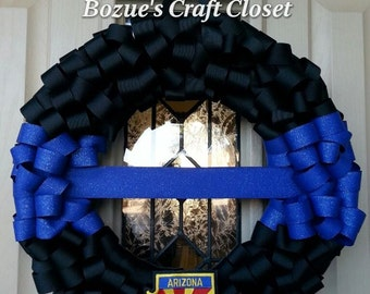 Blue Line Wreath, Back the Blue, Police Wreath, Police Week, police memorial, thin blue line wreath, fallen officer wreath, LEO wreath