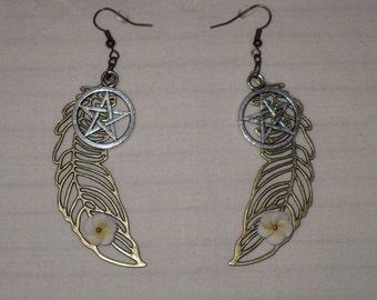 Pentacle Feather Earrings