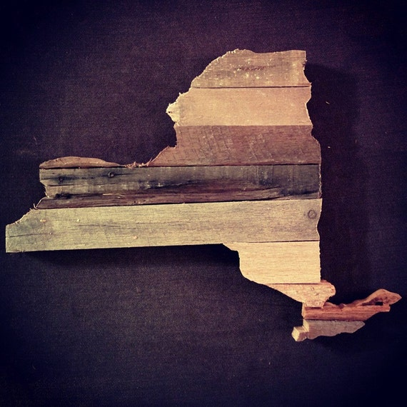 New york reclaimed wood cutout by antiquation1 on etsy for Reclaimed wood new york